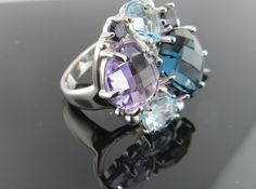 Ferro Jewelers - Brands | ANZIE Bouquet Ring - London Blue Topaz & Blue Drusy