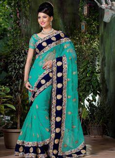 Blue Net Saree With Zari Work