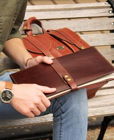 Col. Littleton No. 18 Leather Tablet Portfolio and the No. 37 Satchel in American Buffalo Leather. Handcrafted in our workshop. Made in the USA.