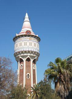 """Torre de les Aigües"" (water tower) - photo by Francesc_2000, via Flickr;  in Barcelona, Spain"