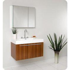 Fresca - Vista Meuble-lavabo de salle de bains moderne teck avec armoire à pharmacie - FVN8090TK - Home Depot Canada