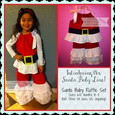 Girls Christmas Outfit Santa Ruffle Pants by ChasingDragonflies12, $65.00