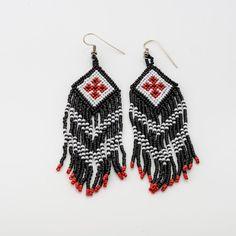 Pueblo loom beaded chic Earrings, Native American long fringe earrings, White black red navajo, beaded fringe earrings, boho cowgirl