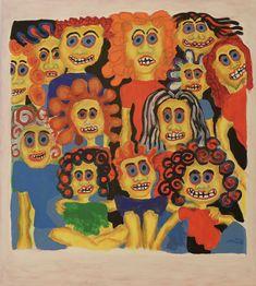 Clan / Maarit Korhonen, acrylic, oil pastels, oil stick, canvas, 73cm x 65cm Dark Paintings, Original Paintings, Online Painting, Artwork Online, Dancer In The Dark, Family Painting, Autumn Painting, Original Art For Sale, Figurative Art