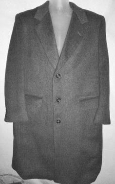 Mens Wool Cashmere Gray Trench Coat Overcoat MOORES Vallombrosa ITALY 44 S EUC #Moores #Overcoat