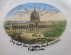 San-Francisco-Civic-Center-California-Souvenir-Plate-Gold-Trim-Vtg-Made-Germany