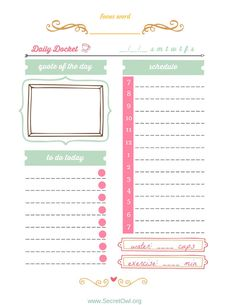 Daily Docket Printable by SecretOwlSociety on Etsy, $5.00