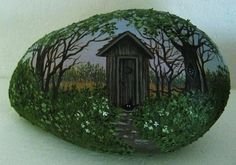 Hand painted rock-art-paintings-outhouse w/ raccoon-Martha Winenger (12/30/2012)