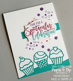 Stampin' Up! Birthday Cheer bundle with Detailed Birthday Edgelits dies and Foliage Frames framelits - handmade birthday or celebration card - cupcakes and confetti - Sarah Fleming - Prepare to Dye Papercrafts Birthday Cheers, Birthday Cards, Hand Stamped Cards, Stamping Up, Kids Cards, Vintage Cards, Greeting Cards Handmade, Homemade Cards, Stampin Up Cards