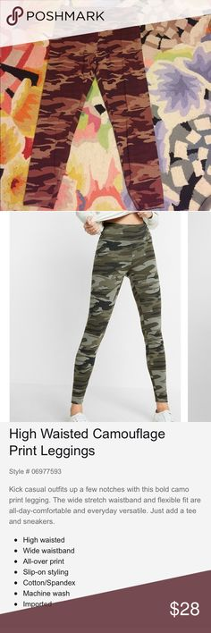 EUC Express red camo leggings! These have only been worn and washed once and are in excellent condition! High waisted red camo leggings from Express, size large. Super cute for casual everyday outfits. This color is sold out online! I don't see any flaws, just slightly wrinkly. Tags: camo, fatigue, leggings, loungewear Express Pants Leggings
