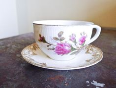 Vintage Tea Cup and Saucer Set - Floral Pattern Porcela. Starting at $6 on Tophatter.com!