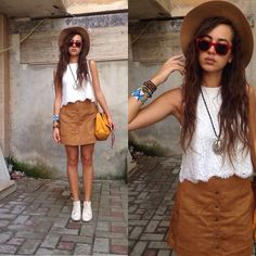 Get this look: http://lb.nu/look/7766076  More looks by Fransi: http://lb.nu/user/4021036-Fransi  Items in this look:  H&M Skirt, H&M Top, Stradivarius Hat, Ray Ban Sunglasses, H&M Bag