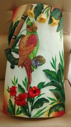 Tropical Animals, Tropical Art, Lotus Painting, Painting On Wood, Art N Craft, Craft Work, Cardboard Tube Crafts, Decoupage, Clay Wall Art