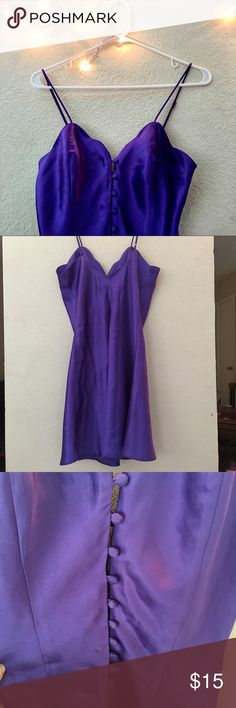 Victoria Secret Purple Slip Dress Vintage retro Victoria secret purple lingerie. Perfect to get before Valentine's day! Has a few buttons down the front for easy access in and out. Also comes with adjustable shoulder straps.   I see no flaws.  SIZE PETITE THIS IS WHY I CHOSE SIZE SMALL! Victoria's Secret Intimates & Sleepwear Chemises & Slips