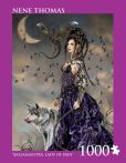 """""""Bella Maestra, Lady of Pain"""" ~~ Artist: Nene Thomas ~ (1000 pc - 20"""" x 27"""") puzzle by Andrews + Blaine Ltd. ~ The dragon witch Bellamaestra, Lady of Pain stands in the moonlight with her dragon & wolf companions.  ~~  at BarnesandNoble.com for $14.95"""