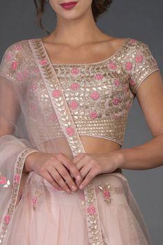 Indian wedding outfits for ladies Nude Pink Resham and Gota Patti Hand Embroidered Lehenga Indian Bridal Outfits, Indian Designer Outfits, Designer Dresses, Designer Wear, Designer Sarees, Sari Blouse Designs, Designer Blouse Patterns, Lehnga Dress, Lehenga Blouse