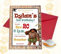 Maui Demigod Weaved Birthday Invitation - Disney Princess Moana Inspired Invites - Luau Boy's Party - digital or print