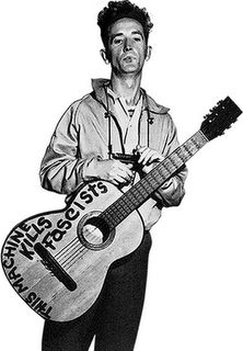 Woody Guthrie and his guitar Leonard Cohen, Disney Marvel, Bob Marley, Justin Bieber, Visions Of Johanna, C G Jung, Jazz, Pete Seeger, Bond