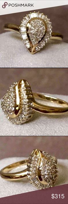 10K Yellow Gold & .50 Diamond Ring~Polished Genuine Diamonds~Round/Baguette Cut-Cluster-Solid 10kt Yellow Gold Teardrop Design:  Gorgeous ring in beautiful condition, recently professional polished: sparkling, elegant, a .50 Carats of genuine Diamonds-Baguette and Round Cut. Set in solid 10kt Yellow Gold, 13.3 mm long. Center (Round Cut) encased by Baguette Cut. Size 7.5 which can adorn any finger or be sized, up or down. Gorgeous  tear-drop/pear design and details with sparkling light…