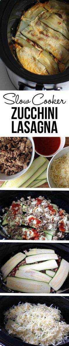 Slow Cooker Zucchini Lasagna with Meat Sauce.  Use zucchini instead of noodles. Healthy dinner recipe.