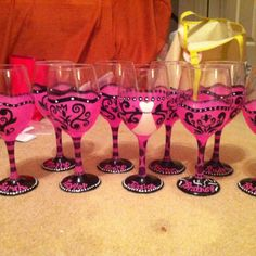 hand painted bachelorette wine glasses | wedding | Pinterest