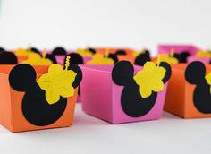 Luau Candy Cups, Luau Theme, Hot Pink Candy Cups Box, 12 Candy Cups Boxes, Orange and Pink theme