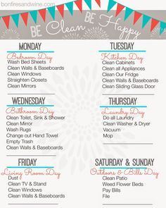 Free Printable cleaning schedule that includes a reminder to pay bills! Diy Cleaning Products, Cleaning Solutions, Cleaning Hacks, Cleaning Toys, Cleaning Baseboards, Grand Menage, How To Clean Mirrors, Cleaning Appliances, Ideas Para Organizar