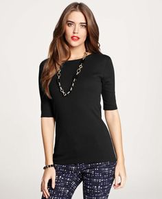 Ann Taylor - AT Knits Tees - Jewel Neck Short Sleeve Cotton Tee