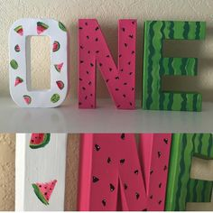 Hand painted watermelon letters