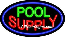 "Pool Supply Flashing Neon Sign-ANSAR14278  Dimensions: 17""H x 30""L x 3""D  Custom colors ship in 5-7 business days  110 volt flasher transformer  Cool, Quiet, and Energy Efficient  Hardware & chain are included  Comes standard with 6' power cord  Indoor use only  1 Year Warranty/electrical components  1 Year Warranty/standard transformers."