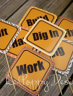 Construction Birthday Party Signs by PartyOnPurposeShop on Etsy, $42.00
