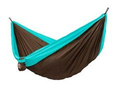 Traveling is easy with the La Siesta Colibri Double Travel Hammock. Designed for quick and easy suspension and dismounting, this hammock can be suspended from j Hammock Chair, Hammock Stand, Outdoor Hanging Bed, Outdoor Decor, Outdoor Swings, Hanging Chairs, Indoor Outdoor, Beach Blanket, Picnic Blanket