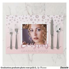 Shop Graduation graduate photo rose gold diamonds paper placemat created by Thunes. Ombre Background, Dusty Rose Color, Pink Photo, Class Of 2020, Placemat, Blush Pink, Graduation, Diamonds, Vibrant