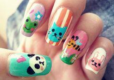 animales tiernos pintados en las uñas