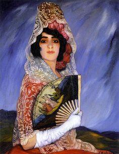 Angustias con mantilla blanca y abanico, de Ignacio Zuloaga Zabaleta (Eibar, 1870- Madrid, 1945), óleo sobre lienzo,