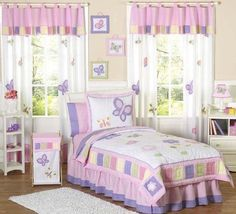 Beautiful idea for a girls bedroom idea - a pink butterfly theme.