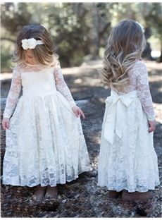f3204fa592 Spring Fall A-line Natural Winter Scoop Ankle-Length Long Sleeves Flower  Girl Dress. Dress GirlGirls Lace ...