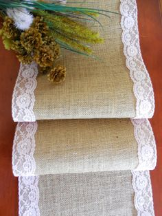 Burlap and lace table runner wedding table by DaniellesCorner, $21.00