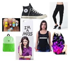 """""""fangirl"""" by writeasyouthink ❤ liked on Polyvore featuring Nollie, Converse, LAUREN MOSHI and Leg Avenue"""