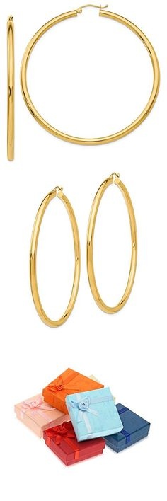 ad19e2f72 MCS Jewelry 14 Karat Yellow Gold Rounded Hoops Earrings 3mm Thickness  (Available in 6 Different Sizes)