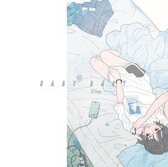 茹だる8月、君の部屋、僕たちの青について  #BABYBABY #3時0時週刊シリーズ #illustration #artwork #drawing