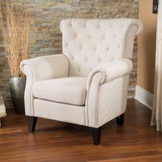Franklin Tufted Light Beige Fabric Club Chair by Christopher Knight Home (Franklin Tufted Light Beige Fabric Club Chair)