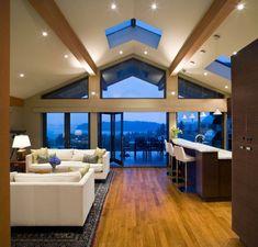 salon moderne plafond poutre apparente carrée