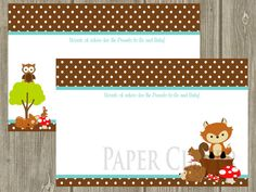 Can customize to go with the theme.  Neutral Advice card for Baby Shower woodland theme by paperclever, $7.00