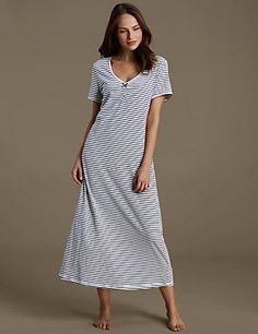 a9b7ccc911 Cotton Rich Striped Nightdress with Modal   Cool Comfort™ Technology Silk  Slip