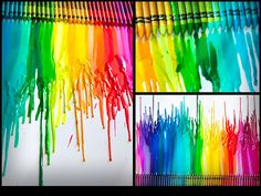 Lo primero es pegar una por una las crayolas sobre la tela o el carton, en el orden que más te guste. Deja que se seque bien el pegamento antes de empezar con la creatividad. A continuación debes poner el cartón verticalmente, con las crayolas en la parte superior: Y pasa la secadora sobre cada pedazo para que la cera se derrita: