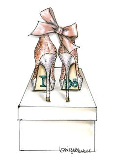 Fashion Illustration print I Do Shoes  Pink Nude by EmilyBrickel, $20.00