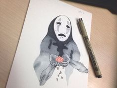art of no face from spirited away - studio ghibli