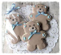decorated bear cookies | Teddy Bear Cookies~ Shortbread Sugar Cookie, by TheTailoredCookie, $66 ...