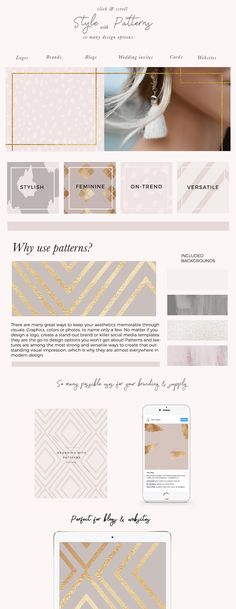 Feminine Brand Styling Patterns by Laras Wonderland on @creativemarket